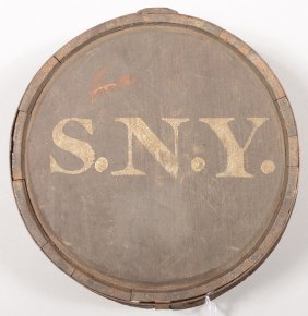 State Of New York Marked Wood Canteen, War Of 1812
