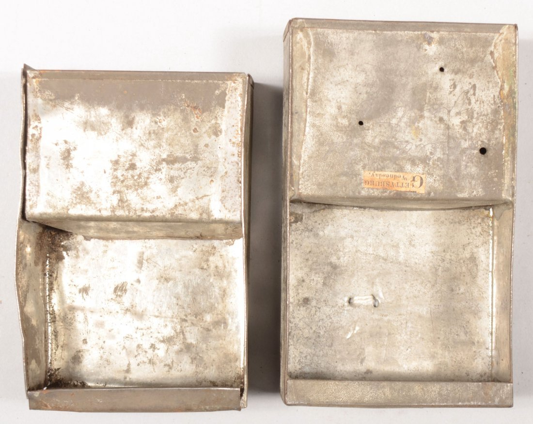 83: Lot of (2) different length cartridge box tins both