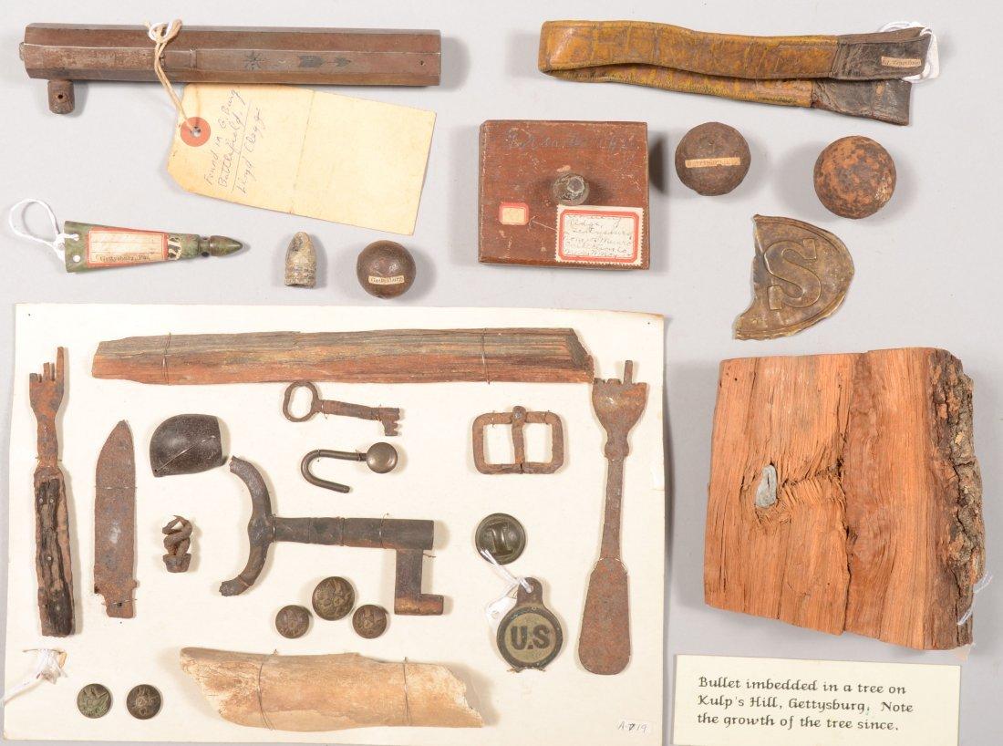 92: Civil War relics: a small display board of relics p