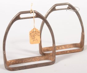 "Pair Of Iron Stirrups Stamped On The Bottom ""L.D.C"