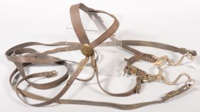 Brown Leather Bridle Having Brass Fittings And A N
