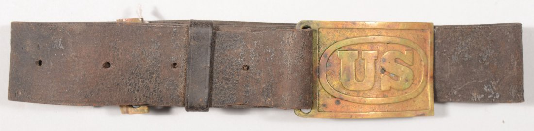 165: M1874 leather waist belt with a US belt plate.