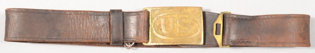 166: M1874 leather waist belt with a US belt plate.