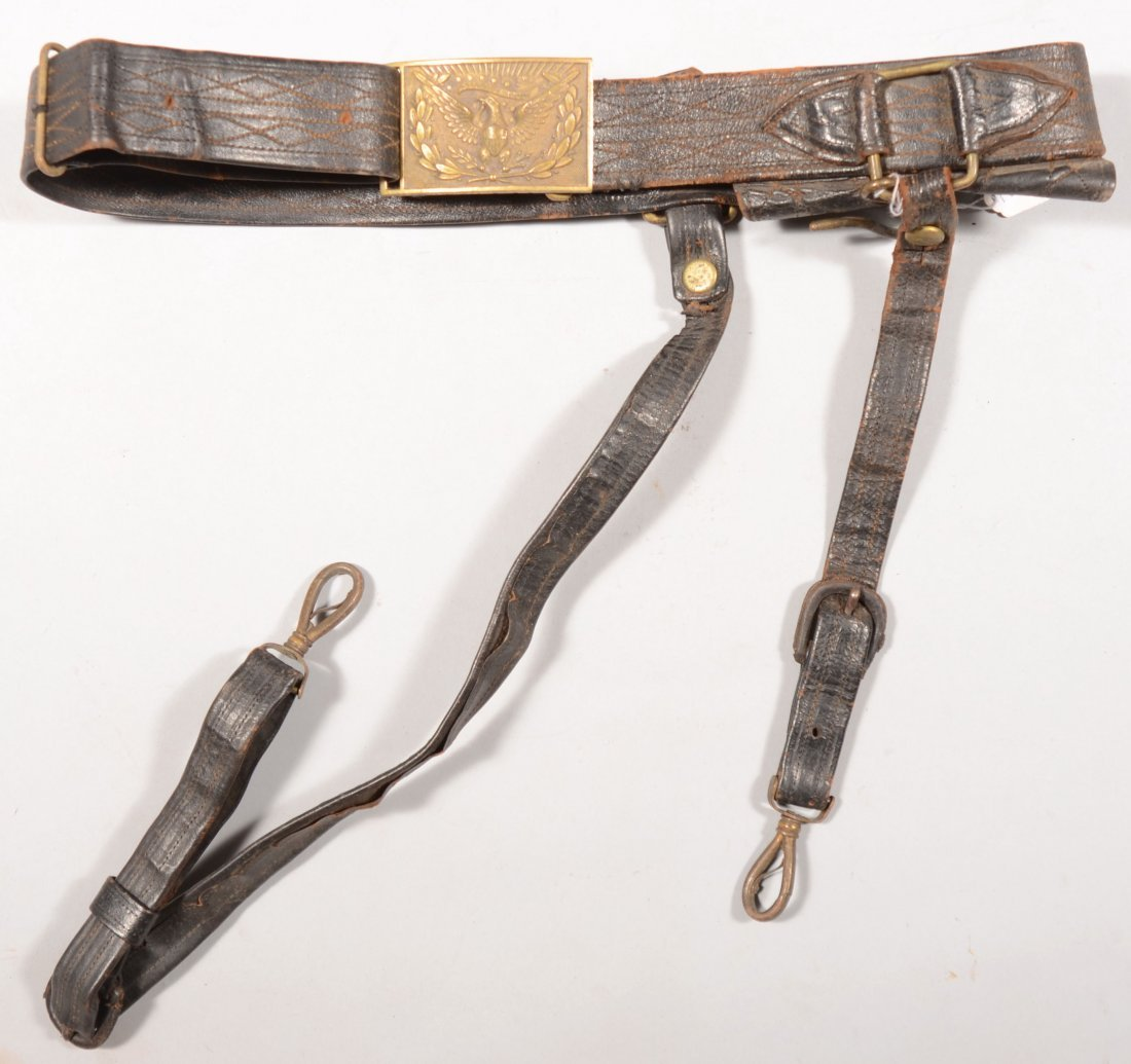 167: 1875 - 1890 era leather sword belt with hangers an