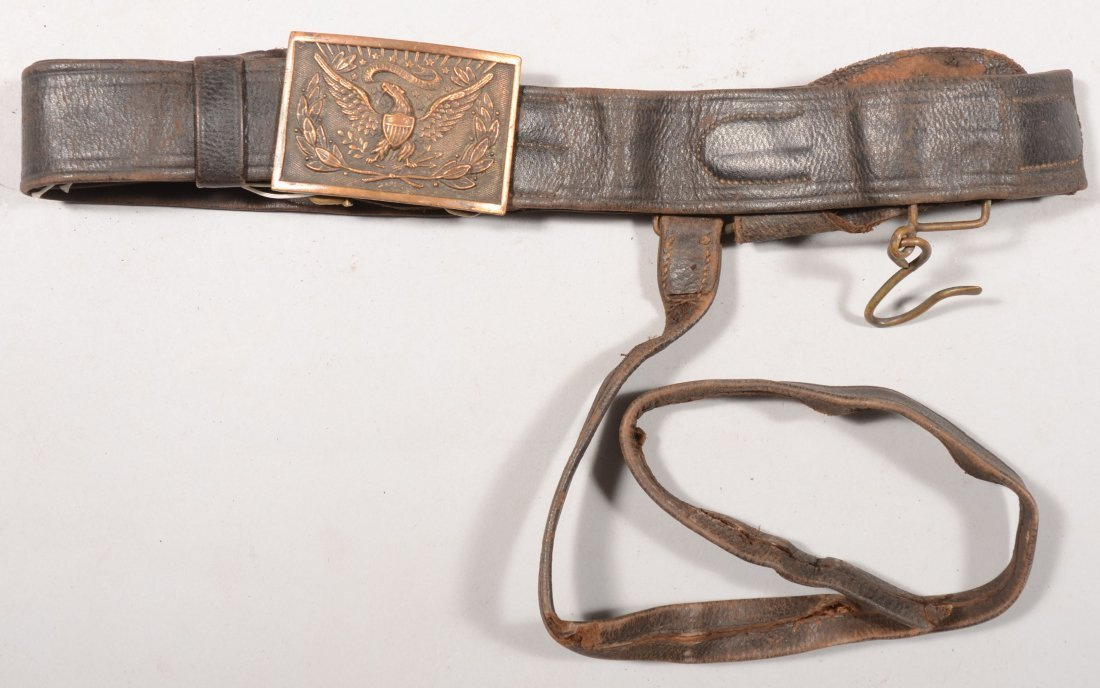 168: 1875 - 1890 era leather sword belt with a M1851 be