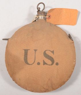 Spanish American War Canteen With A Tag Identifyin