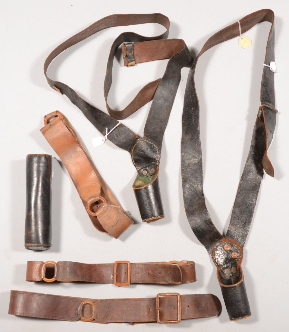 194: Lot of (5) assorted belts including flag pole hold