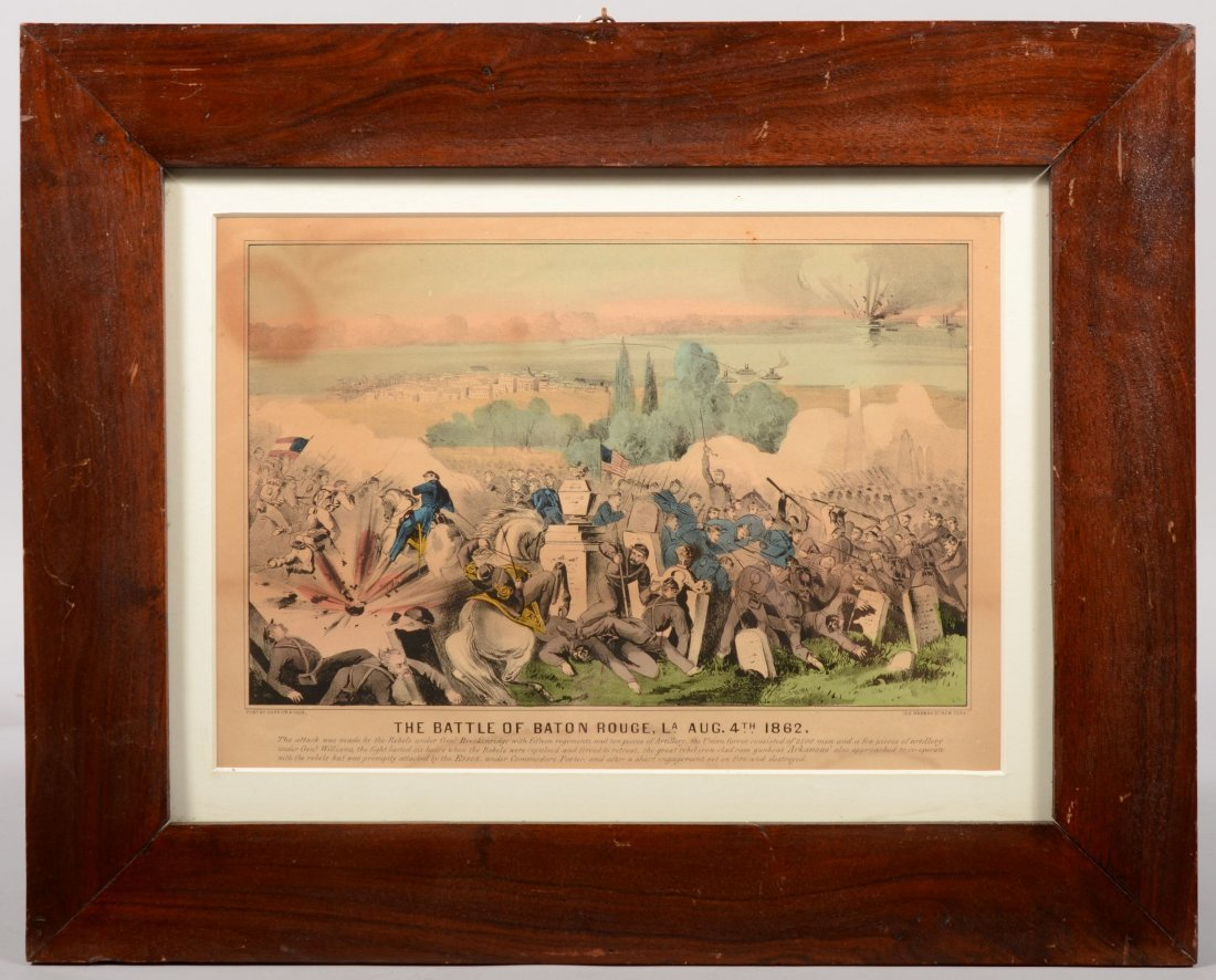 204B: Framed hand colored Currier & Ives lithograph ent