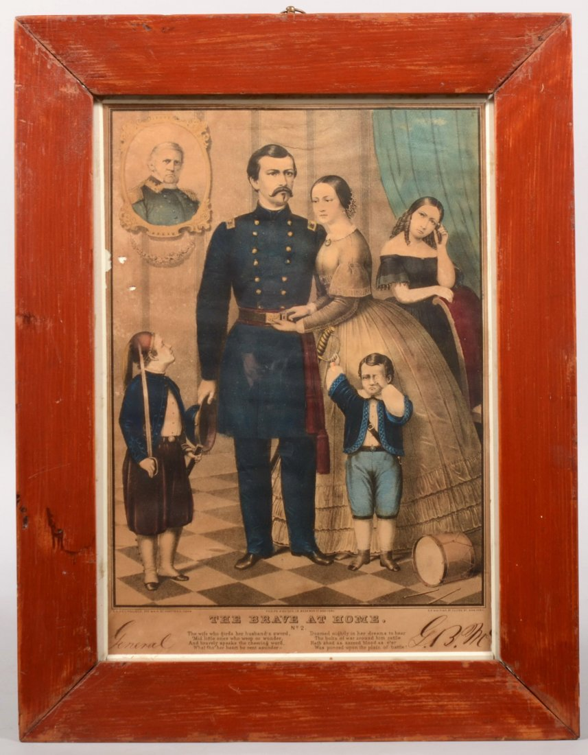 """205: Framed hand colored lithograph entitled """"The Brave"""
