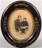 206 Oval framed lithograph of Abraham Lincoln with hi