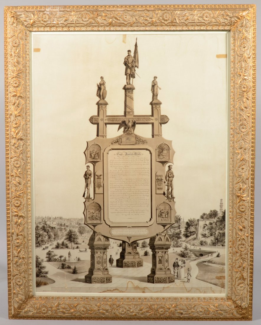 207: Framed Easel Monument lithograph having the Army r