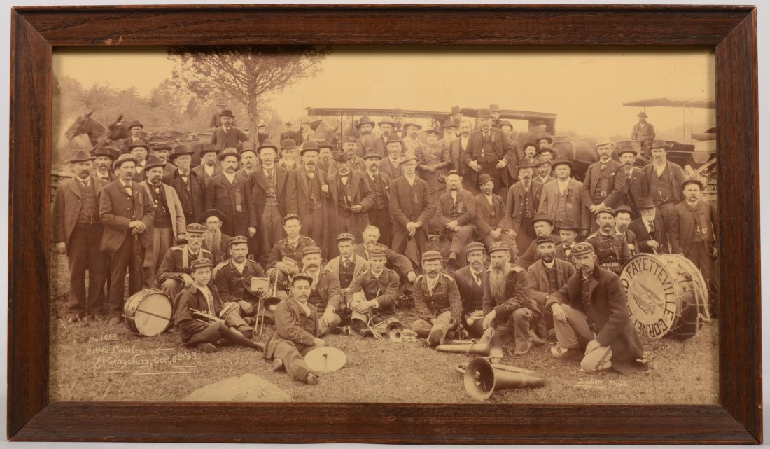 208: Framed photograph of the 21st PA Cavalry at Gettys