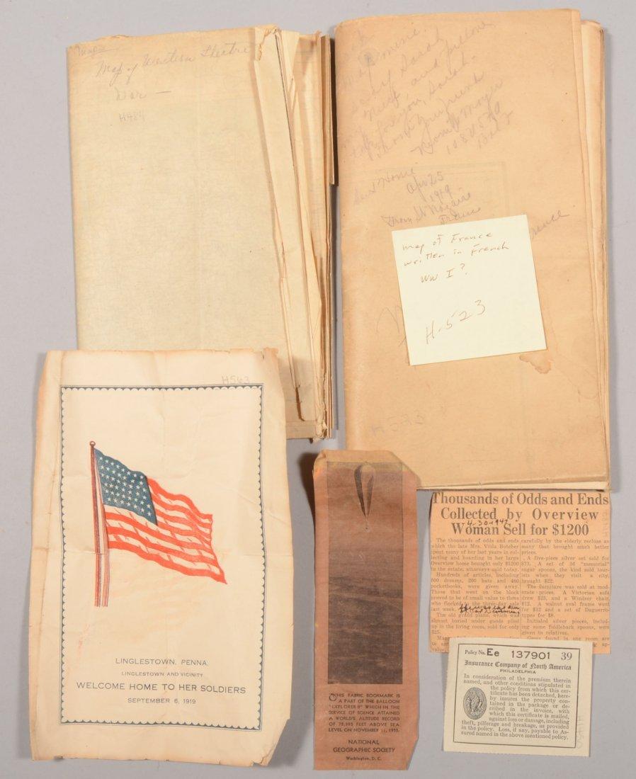 210: Early 20th century ephemera including WW1 era maps