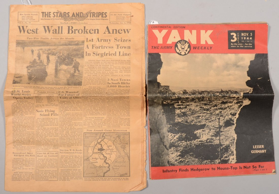 "211: WWII ephemera: (4) copies of ""The Stars and Stripe"