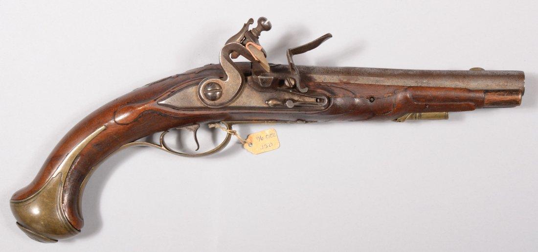 214: European brass mounted  flintlock  pistol circa 17