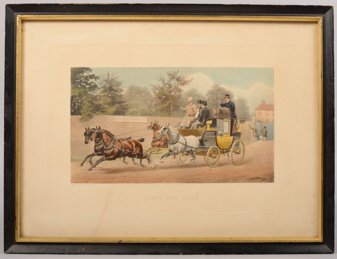"2: ""Just To Late"" English Watercolor Coach Lithograph."