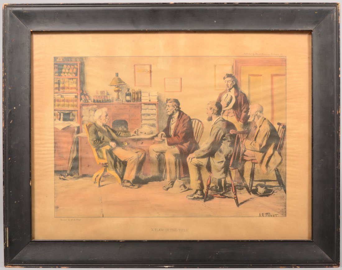 "3: ""A Flaw in the Title."" Color lithograph of a paintin"