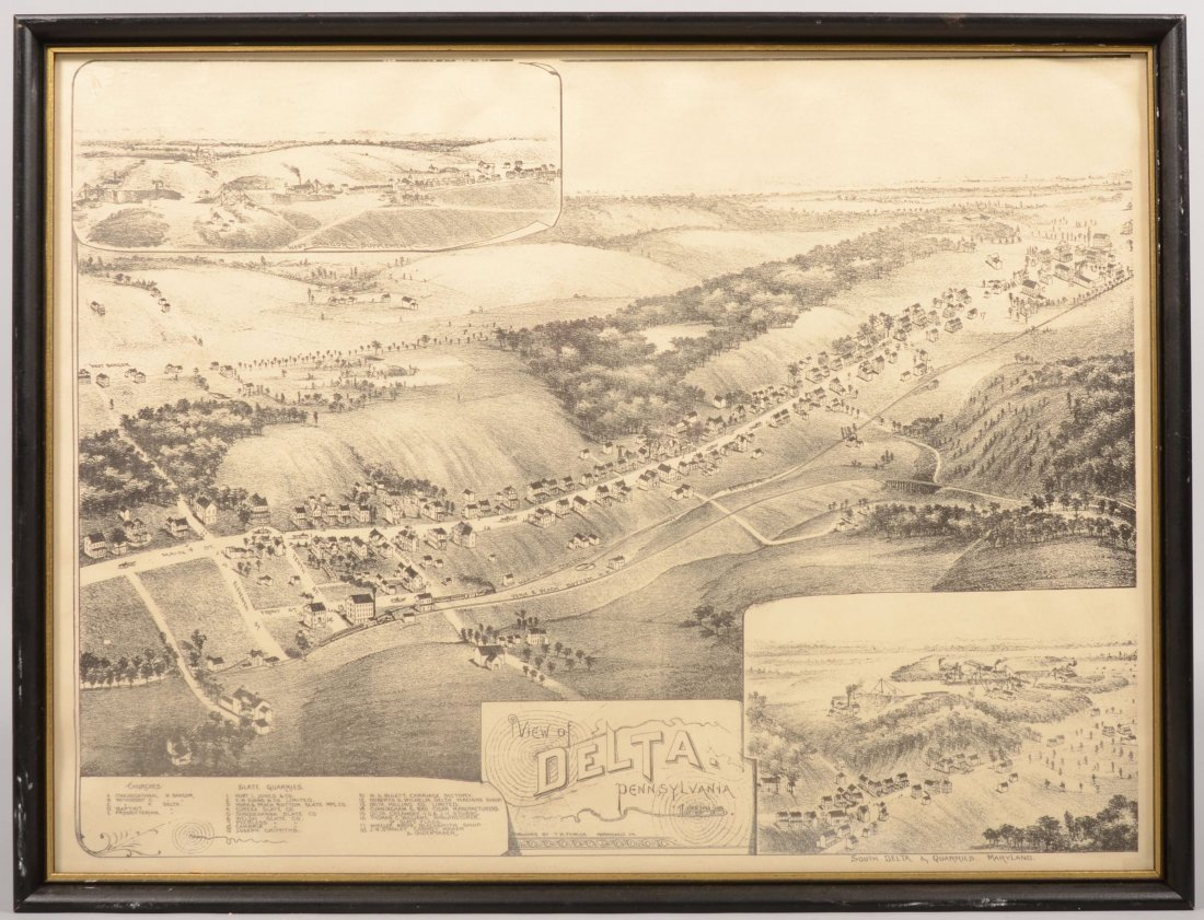 7: Lithographic Black on White Printed Town View of Del