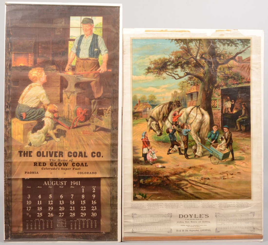 9: Two Color Lithographic Advertisement Calendars with