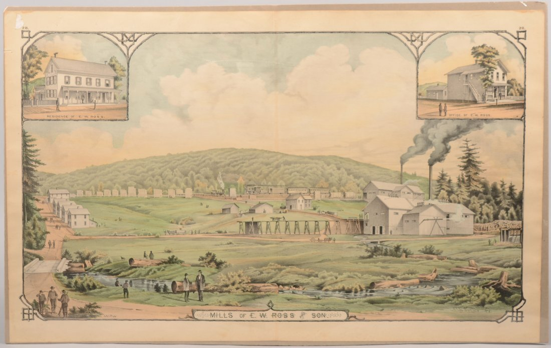 "10: Colored Lithographic Print of ""Mills of E.W. Ross a"