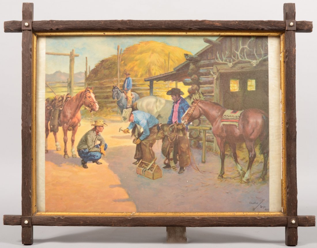 11: Color Lithographic Print of Cowboys Re-shoeing a Ho