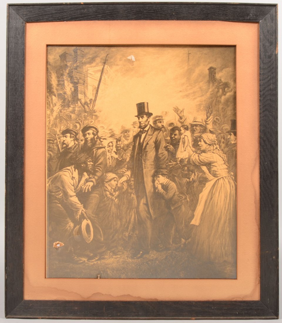 14: Sepia Print of Lincoln the Emancipator. Surrounded