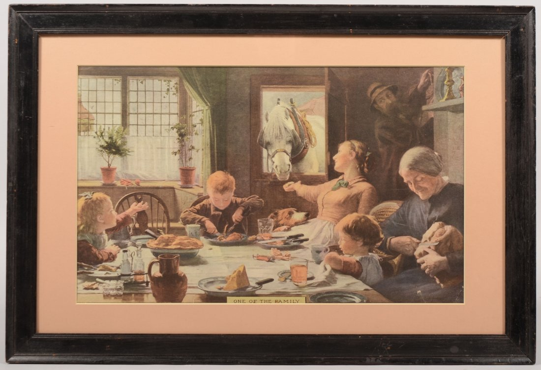 15: Color Lithograph of a Family Having Dinner with a H