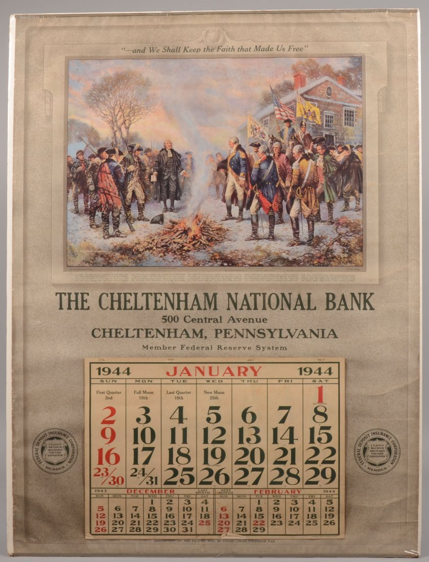17: Large Calendar with Color Lithographic Print of Was