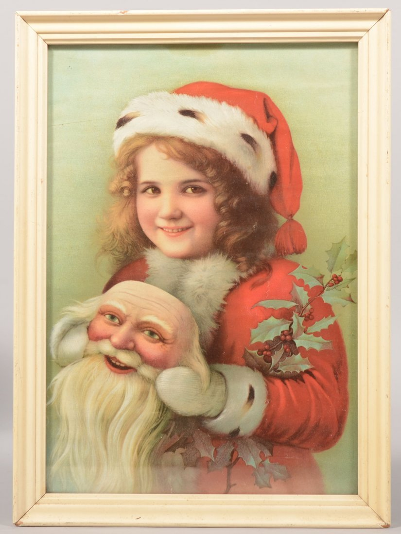 20: Chromo-Lithographic Print of a Girl in Santa Suit w