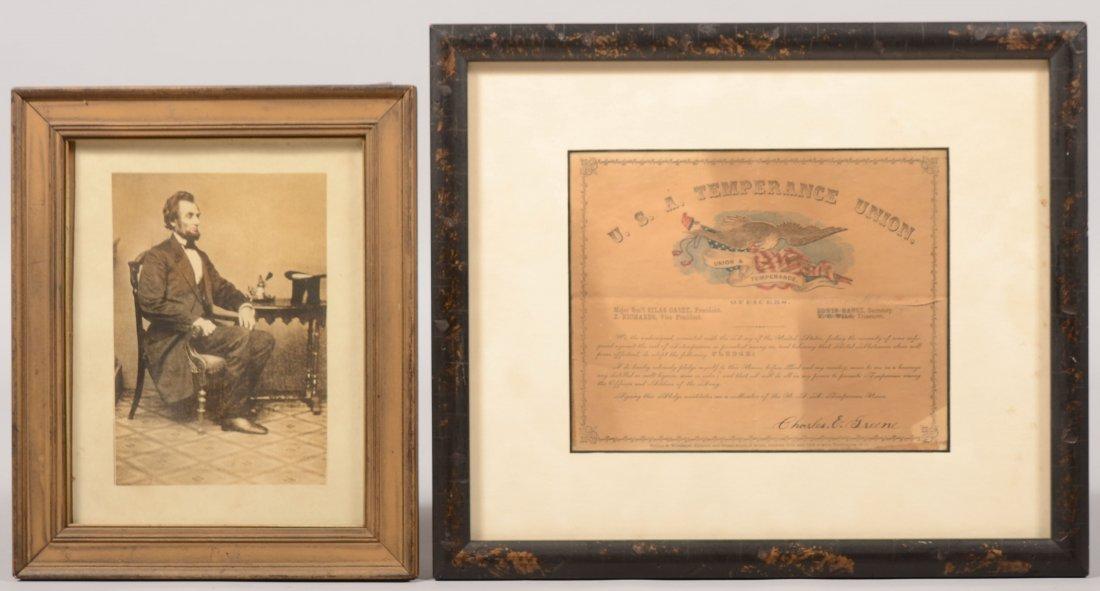 24: Two Printed Items in Frame. A watercolor temperance