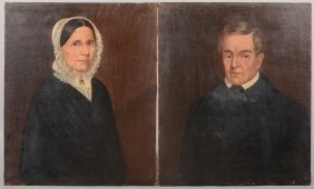 Pair Of Portraits, Man And Wife, Oil On Canvas. No