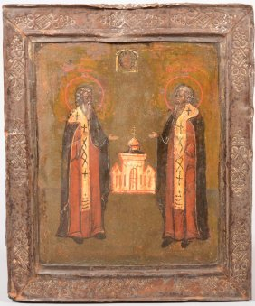 Iconic Painting Of Two Saints. Russian, Pre 1880, T