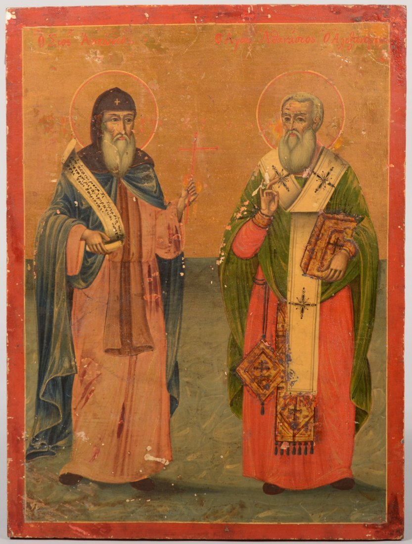 49: Iconic Painting of Two Saints. Russian, post 1880,