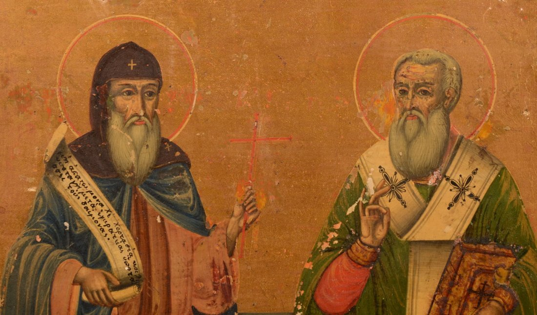 49: Iconic Painting of Two Saints. Russian, post 1880,  - 2
