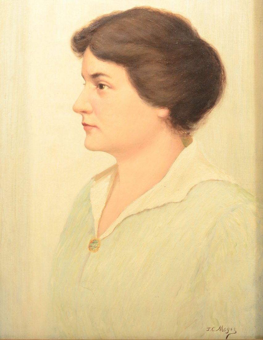 50: Profile Portrait of a Woman, Oil on Canvas. Signed  - 2