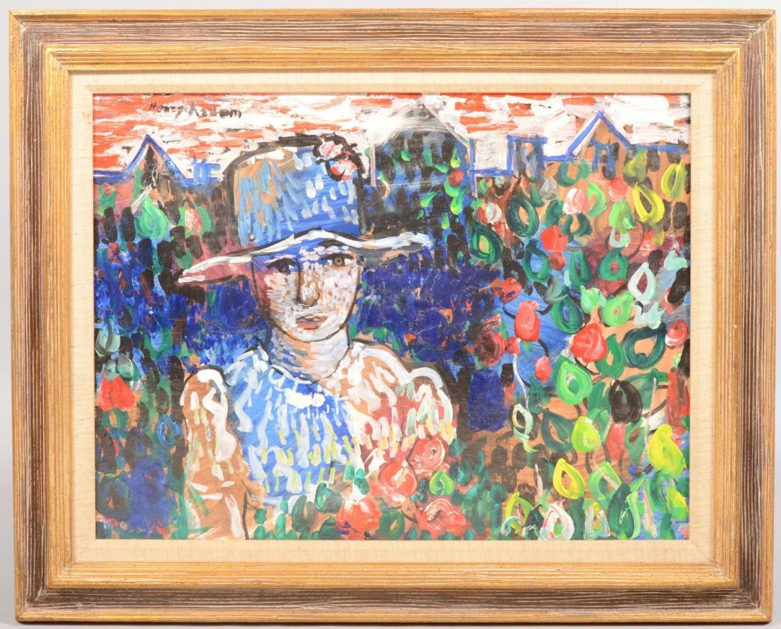 52: Modernist Portrait of a Woman in Hat with Flowers,