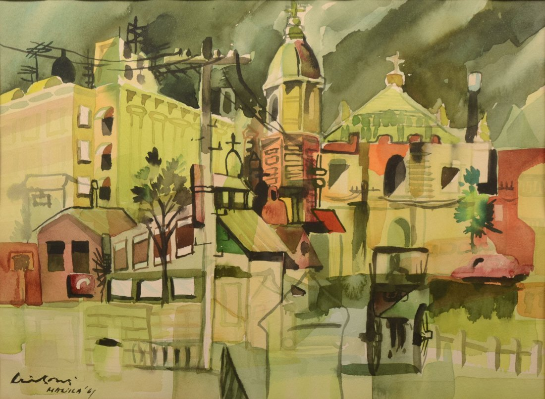 """53: Modernist Watercolor on Paper Titled: """"Church No. 2"""