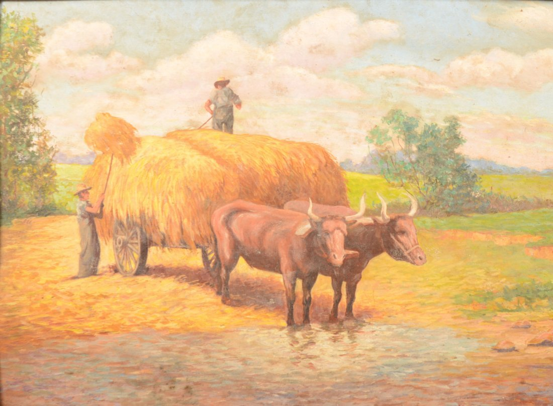 55: Making Hay Painting, Oil on Canvas Board. Image of