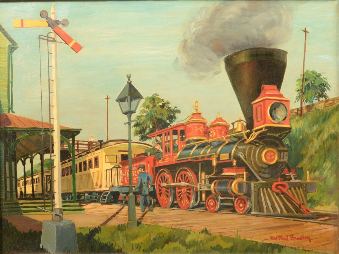 56: Mid Nineteenth Century Steam Engine and Train at a