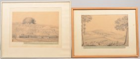 Two Pencil Drawings Of Hyde Hall, Jamaica. Showing