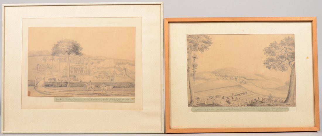 57: Two Pencil Drawings of Hyde Hall, Jamaica. Showing