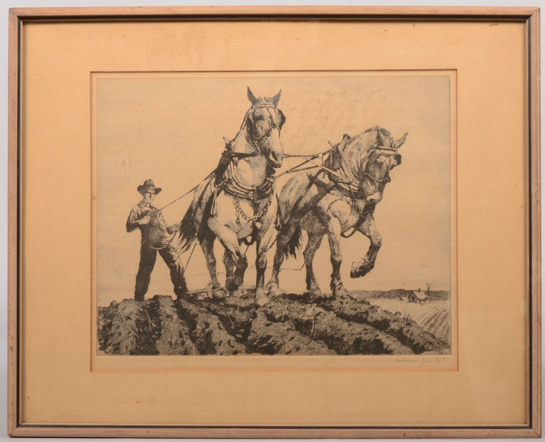 """58: """"Spring Plowing"""" Etching of a Two Horse Plowing Tea"""