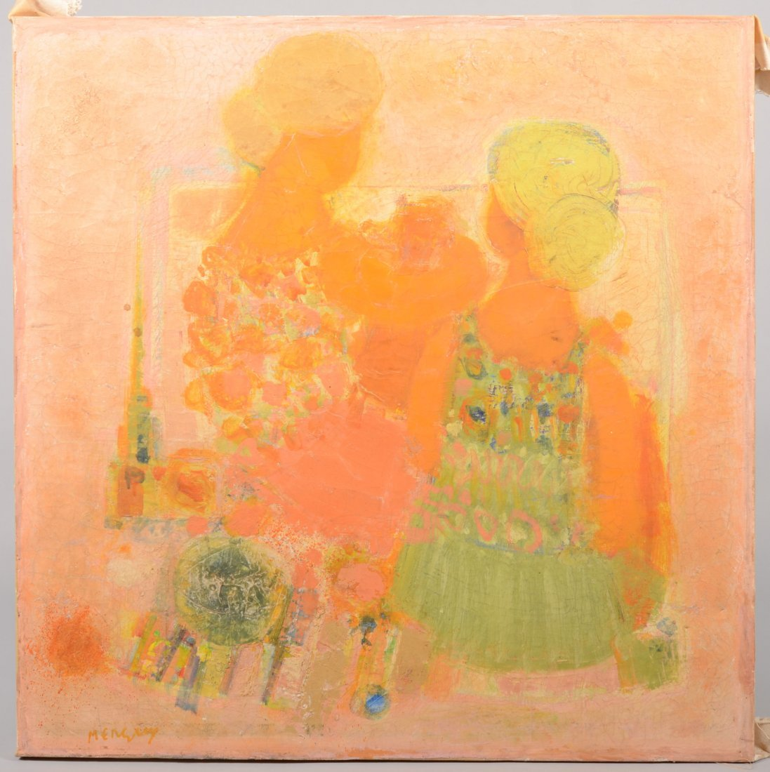 59: Impressionist Image of Two Woman, Oil on Canvas. Si