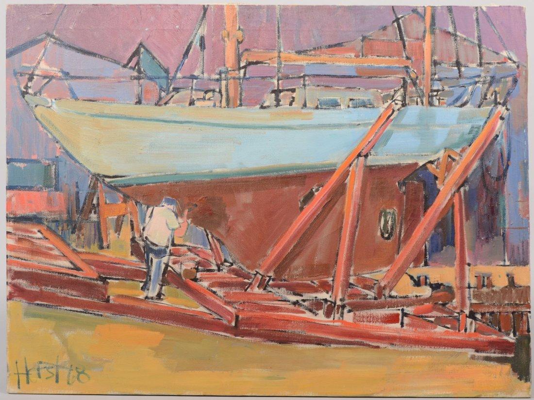 """60: Dry Dock Unframed Oil on Canvas. Signed """"Horst, '68"""