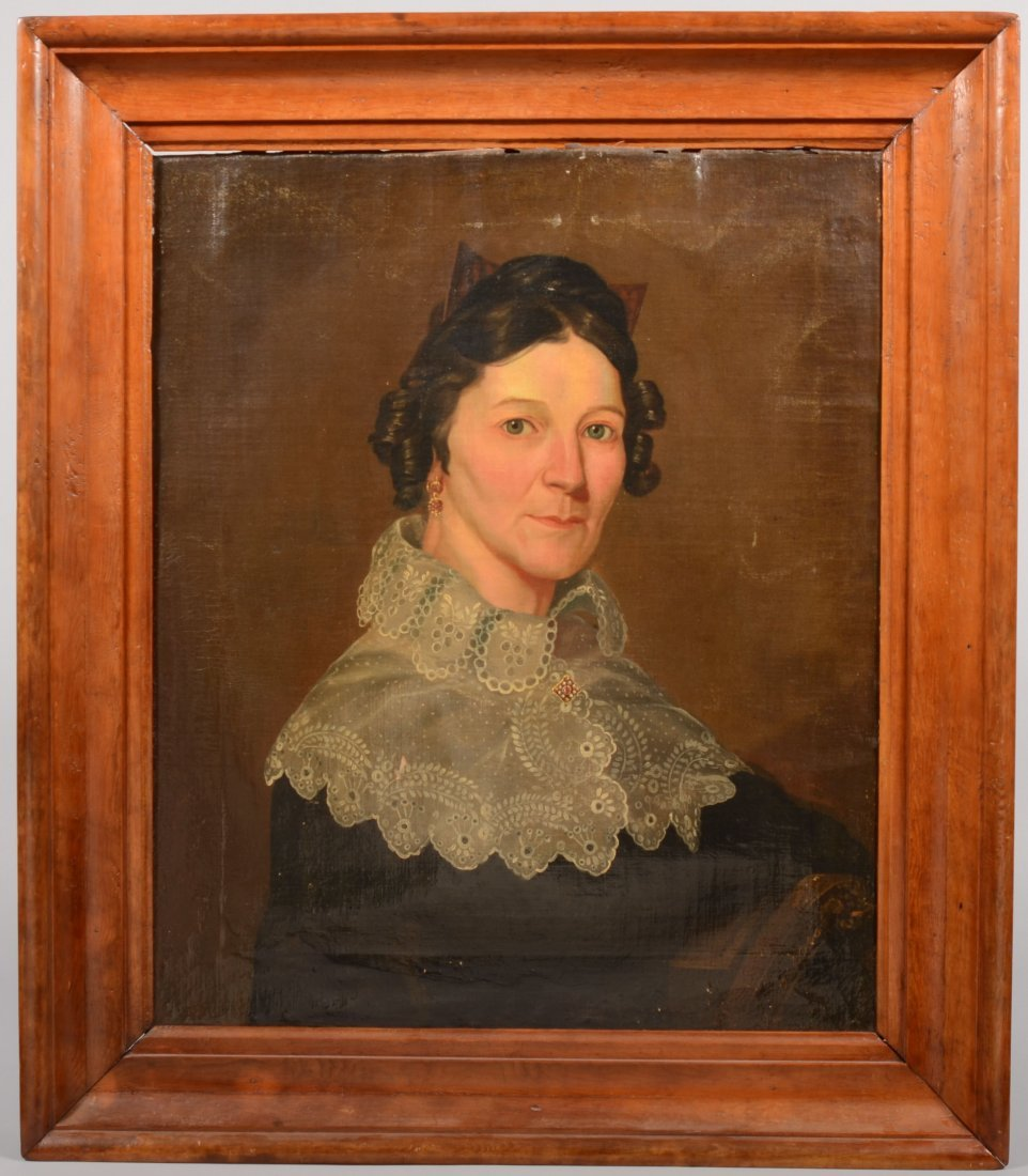 62: Large Portrait of a Woman with High Lace Collared M