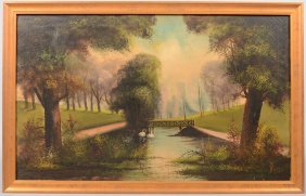Tranquil Park Scene, Oil On Canvas. Signed In Lower