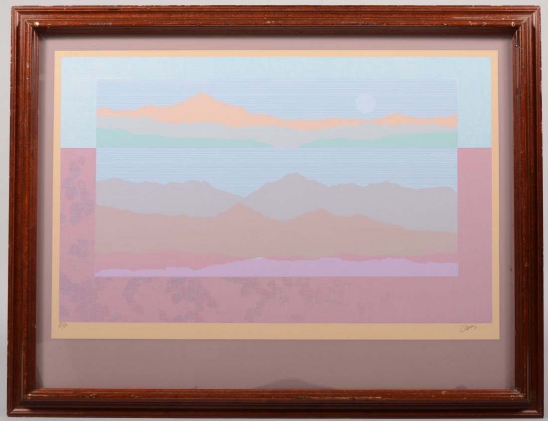 64: Landscape with Moon Pastel Serigraph on Paper. Sign