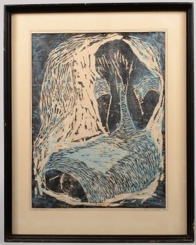 """Linocut Print Titled: """"Girl Crying"""" On Paper. Signe"""
