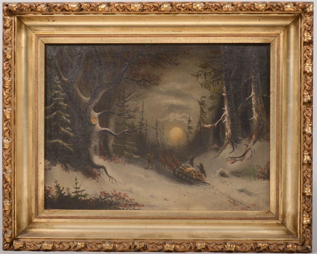 67: Winter Scene of Men Hauling Logs by Moonlight, Oil