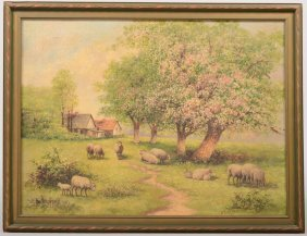 Pasrtral Painting Of Sheep In An Old Orchard, Oil O